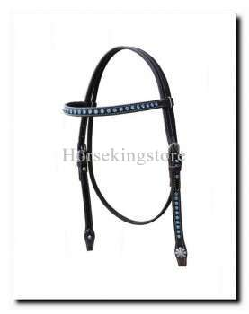 Leather Headstall with blue Strass Shimnous