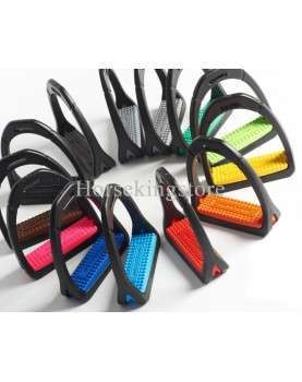 Polymer stirrups with colored rubber pads