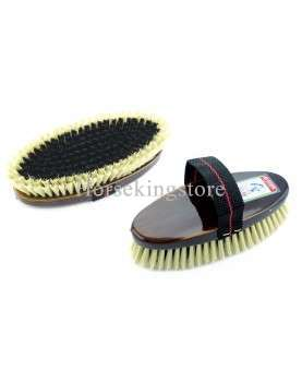 Body brush with varnish wooden handle