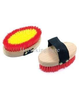 Two-tone body brush with wooden handle