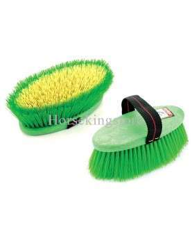 Body brush with long synthetic bristles