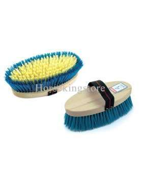 Body brush with synthetic bristles and wooden handle