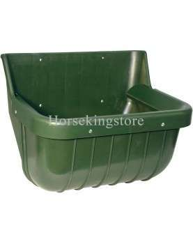 Shatter-proof plastic feed trough with feed saver