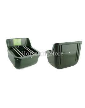 Shatter-proof plastic foal trough with iron bars