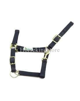 Double nylon halter with leather reinforcement