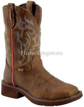 Justin Women's Brown and Pink George Strait Waterproof Cowgirl Boots