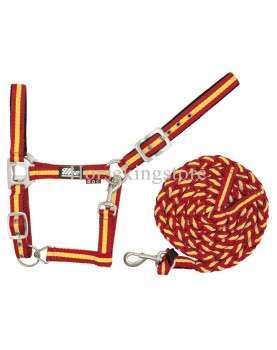 Halter with leather Yellow and Red