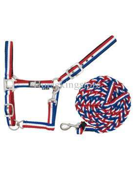 Halter with leather Blue White Red