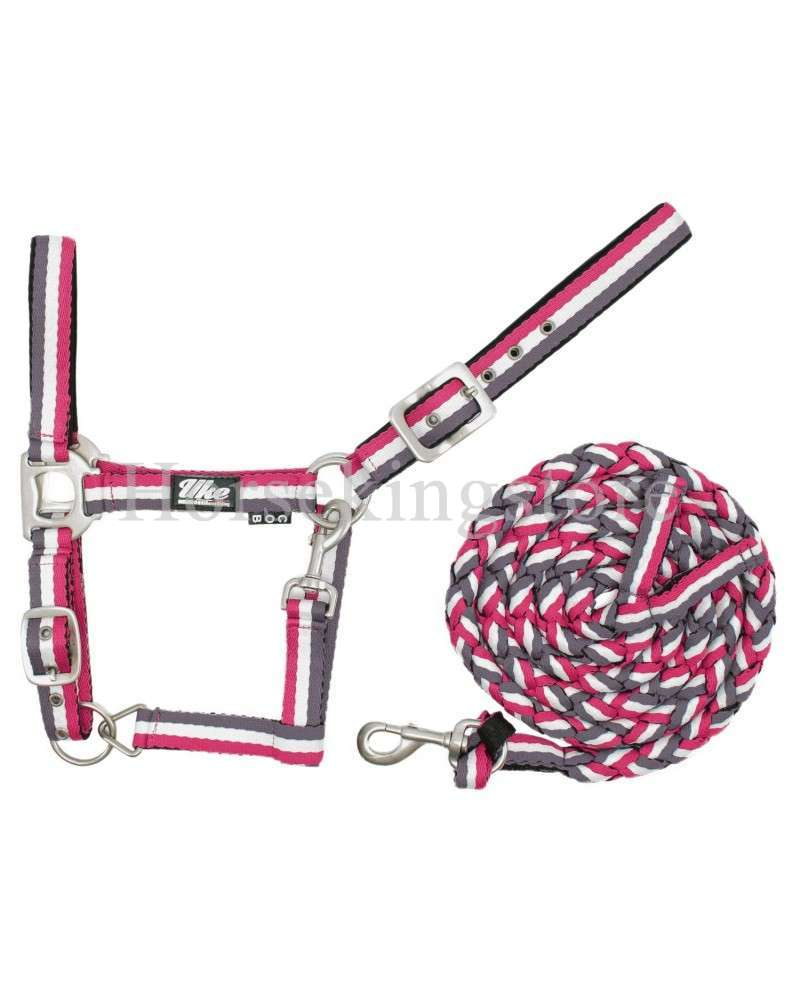 Halter with leather  Pink - White - Purple