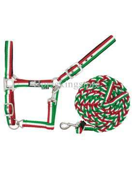 Halter with leather Green - White - Red