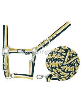 Halter with leather Yellow - White - Green