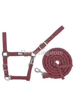 Halter with leather Burgundy