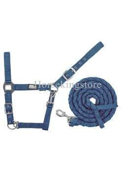 Halter with leather Navy Blue